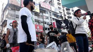 Youth-led protest gets musical as it kicks off in downtown Yangon