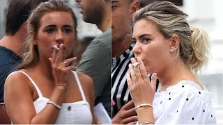 Love Island's Dani Dyer and Megan Barton-Hanson smoke in London