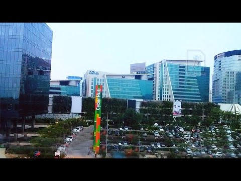Cyber City View from Gurgaon Rapid Metro, India