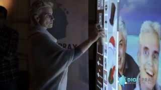 Digitale graffiti wand tijdens personeelsfeest