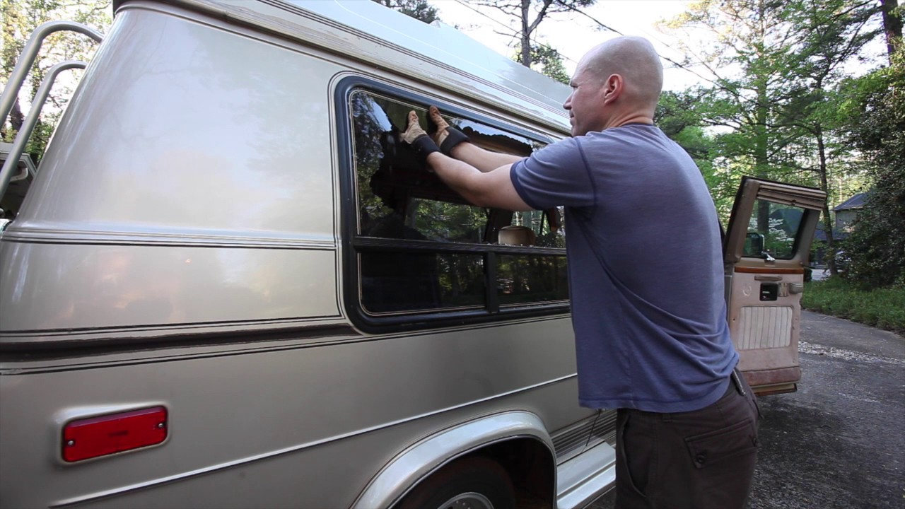 Removing Broken Bay Window In Chevy G20 Conversion Van