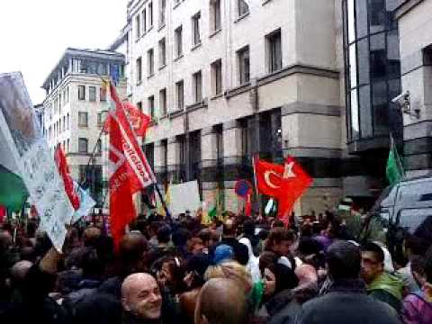 protest brussels against Israel attack on Free Gaza Ships(2) 31.5.2010