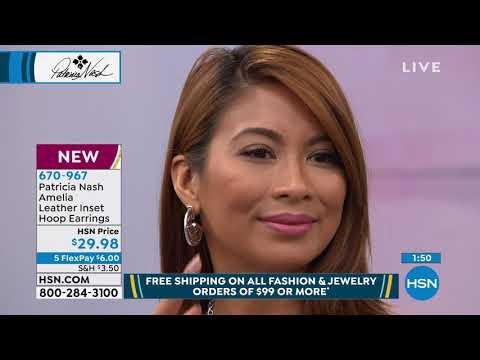 Patricia Nash Amelia Leather Inset Flat Hoop Earrings