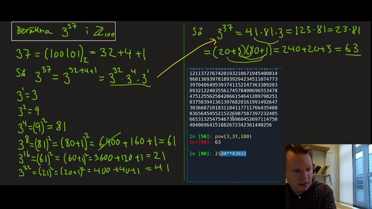 [Disk:6:3] Exempel och successiv kvadrering (Diskret matematik, Föreläsning 6, del 3)