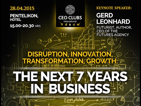 Gerd Leonhard keynote at CEO Clubs Greece: Digital Transformation