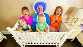 Five Kids Daddy pretend play to be baby Kids Song