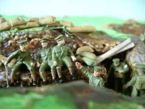 WW1 Airfix First World War Toy Soldiers in dioramas at Mons, Le Cateau and Ypres