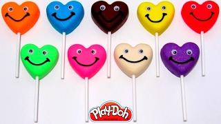 Учим цвета на английском языке с Play-Doh чупа чупсами сердечками.