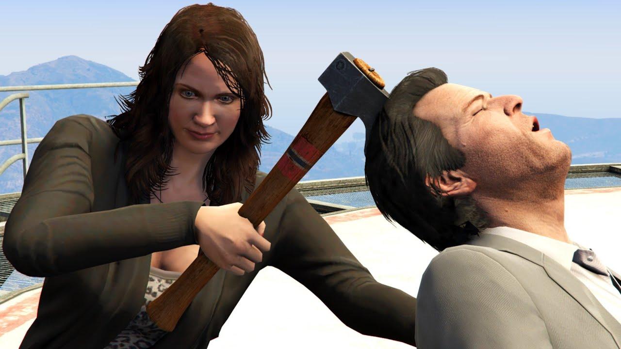 GTA V PC Amanda Kills Michael (Editor Rockstar Movie Cinematic Short Film)