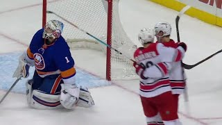 Hurricanes Aho rifles shot past Greiss to give Carolina it s first lead