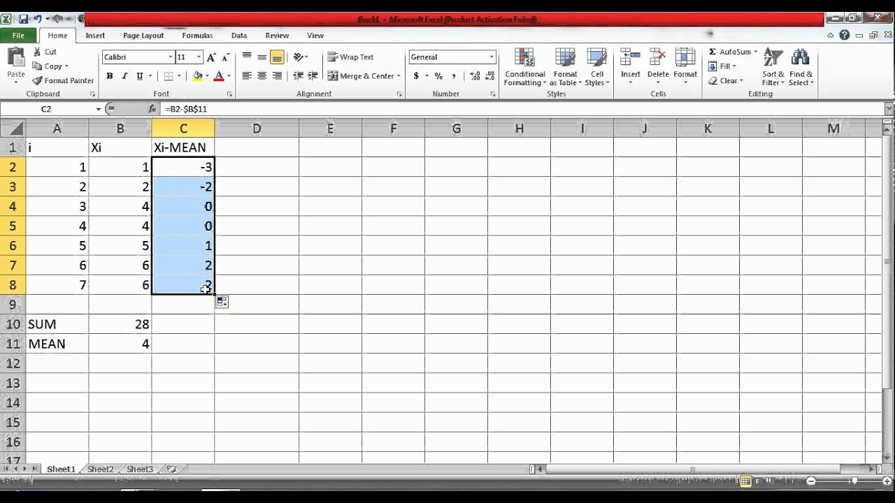 Computing Sample Standard Deviation Using Excel