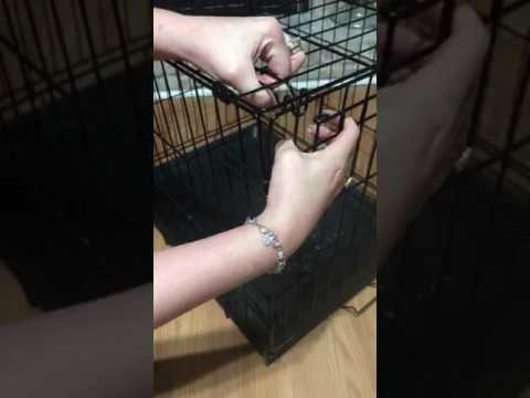 Folding a metal dog crate