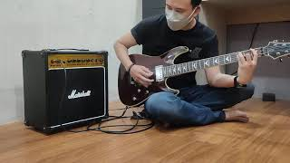 Ampli Gitar Marshall 2 Input Combo Ada Efek Distorsi & Delay Bonus Kabel Jack