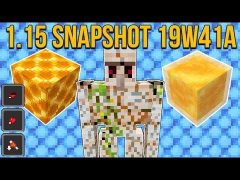 Minecraft 1.15 Snapshot 19w41a Honey Block! Honeycomb Block! Cracked Iron Golems & More!