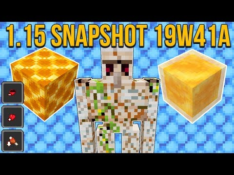 Minecraft 1.15 Snapshot 19w41a Honey Block! Honeycomb Block! Cracked Iron Golems & More!