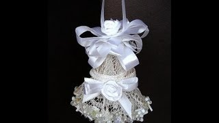 ELEGANT LACE BELL, how to make a lacy bell for weddings, bridal, christmas decorations.