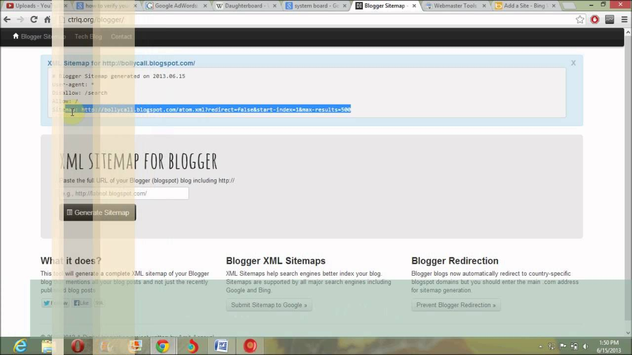 sitemap submit in bing webmaster of blogger part 3 youtube