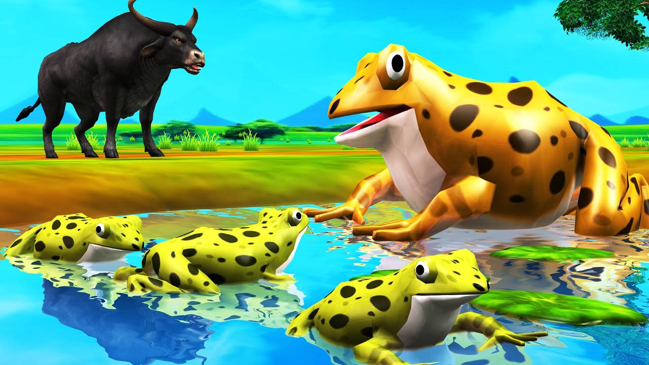गर्व मेंढक और बैल Proud Frog and Bull Story - Hindi Kahaniya - Naithik Kahaniya - 3D Hindi Stories