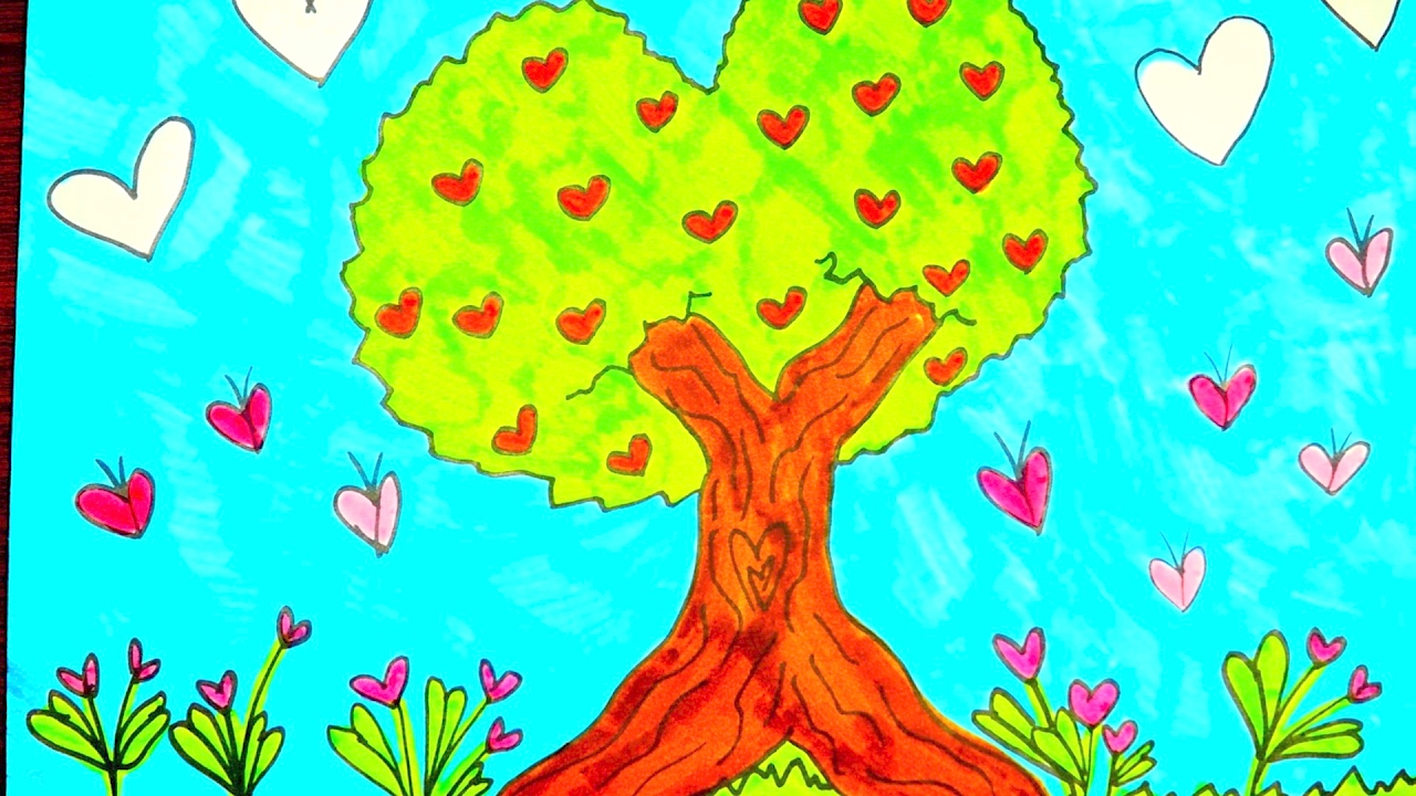 How to draw a cute tree in the shape of a heart for Cute tree drawing