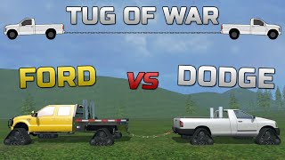 Farming Simulator 2015- Dodge Cummins VS Ford Powerstroke With Tracks!