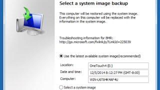 Restoring from a System Image Backup in Windows 8