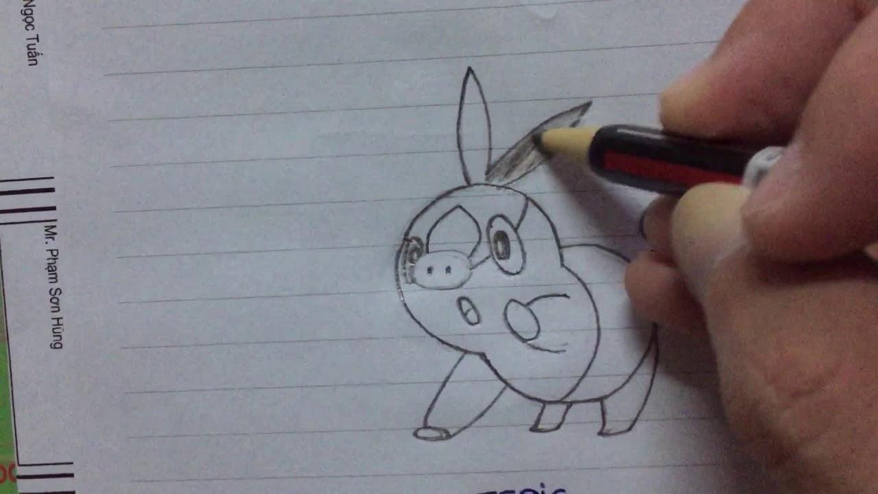 Học vẽ nhân vật hoạt hình pokemon- vẽ pokemon heo lửa