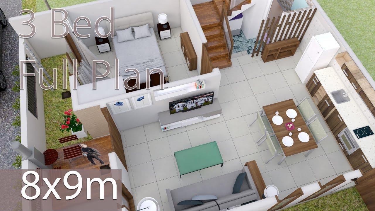 Interior design plan 8x9m walk through with full plan 3 bedrooms