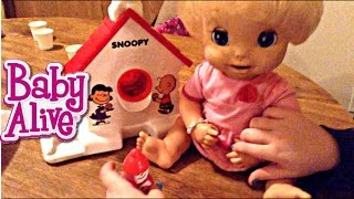 baby alive real surprises doll abigail eats from cra z art snoopy sno cone machine with zoe