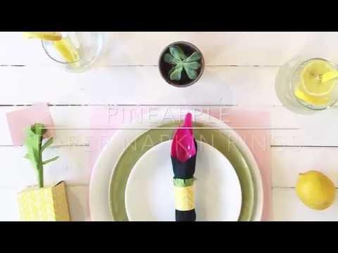 DIY Pineapple Paper Napkin Rings