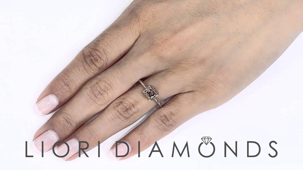 Fd594  118 Carat Natural Fancy Cognac Diamond Solitaire Engagement Ring  14k Rose Gold
