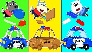 Wolf family | Wolfoo Makes DIY Police Car Toy from Lego, Balloons and Cardboard
