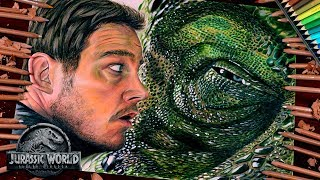 Drawing T-Rex Dinosaur and Owen (Chris Pratt) - Jurassic World: Fallen Kingdom / lookfishart