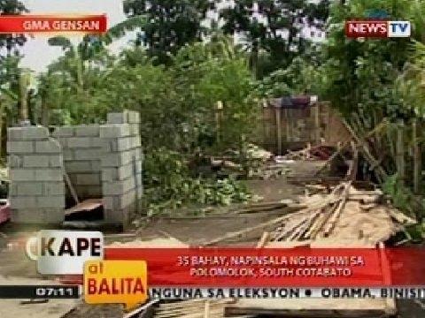 KB: 35 bahay, napinsala ng buhawi sa Polomolok, South Cotabato