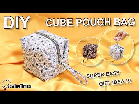 DIY CUBE POUCH BAG | Super Easy purse bag Tutorial | Sewing Gift Ideas [sewingtimes] thumbnail