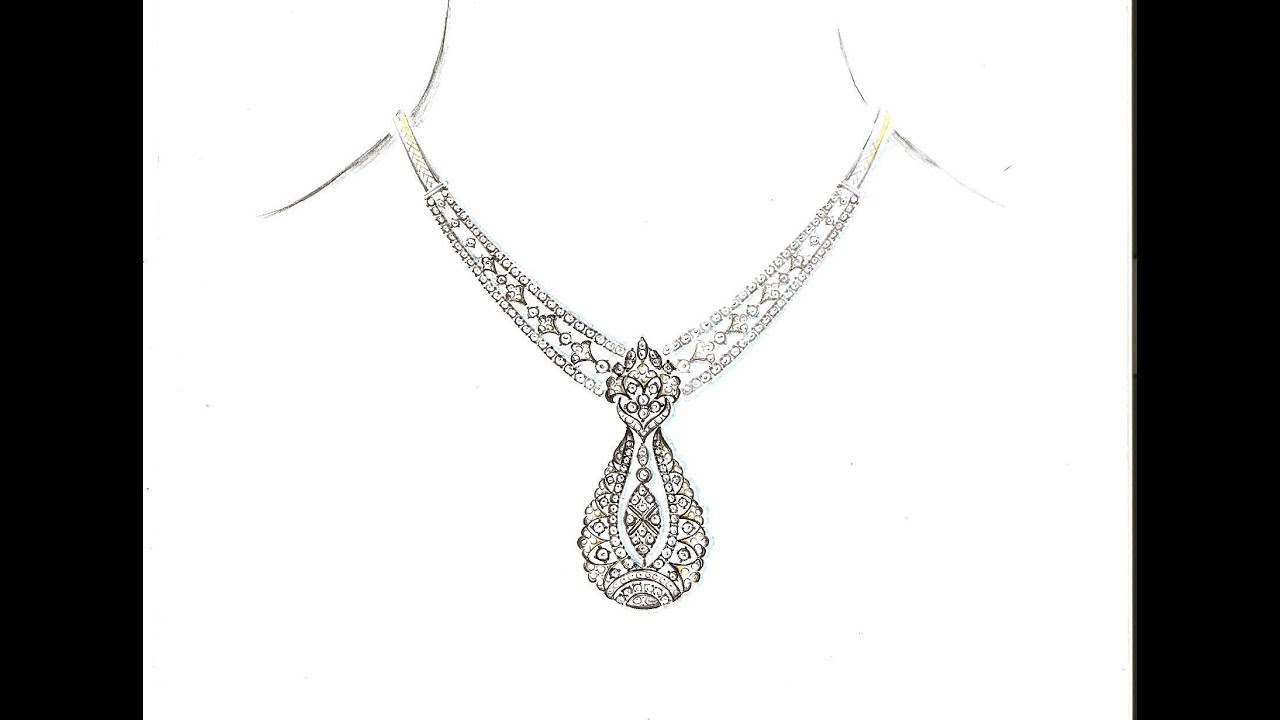 Drawing Necklace Designs Latest Diamond Jewellery Designs Hand