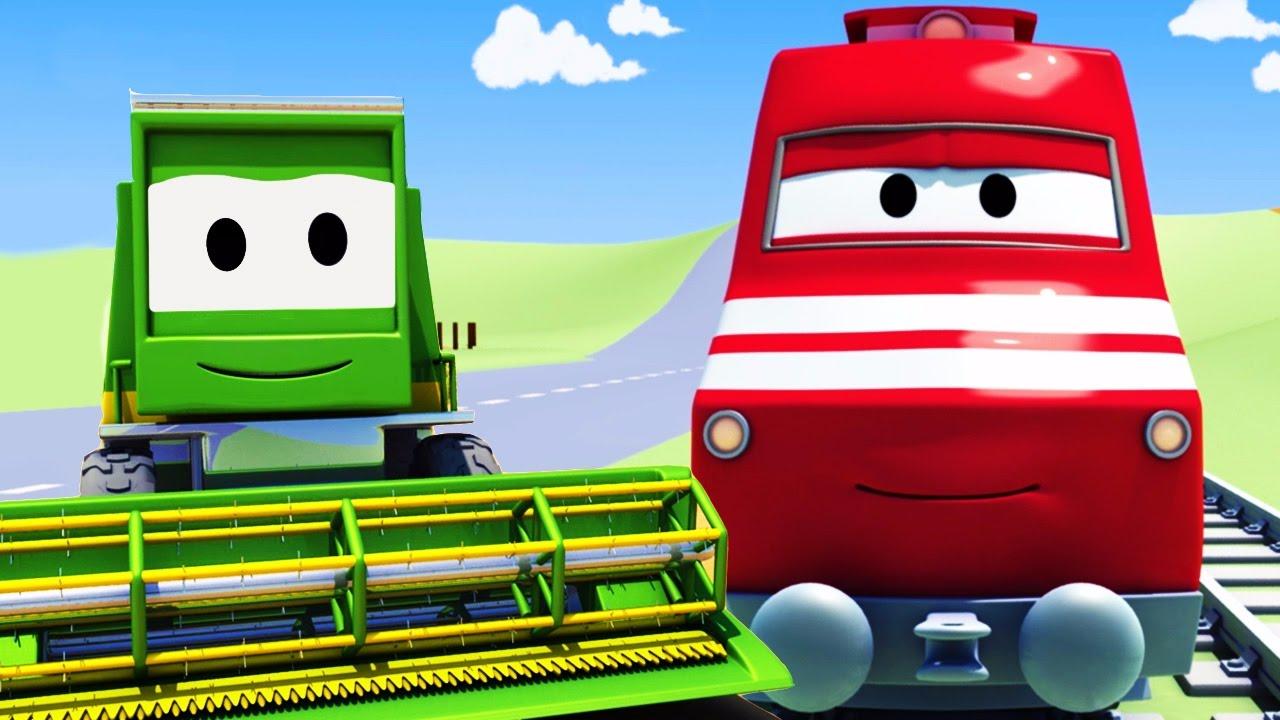Troy le train et la moissonneuse batteuse car city dessin anim s pour enfants youtube - Moissonneuse cars ...