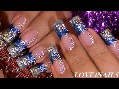 Blue Sparkle Galore Nail Art Design Tutorial - YouTube