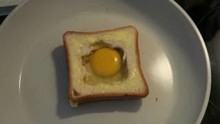 Как приготовить яичницу в хлебе. Вкусный и оригинальный завтрак за 5 минут.
