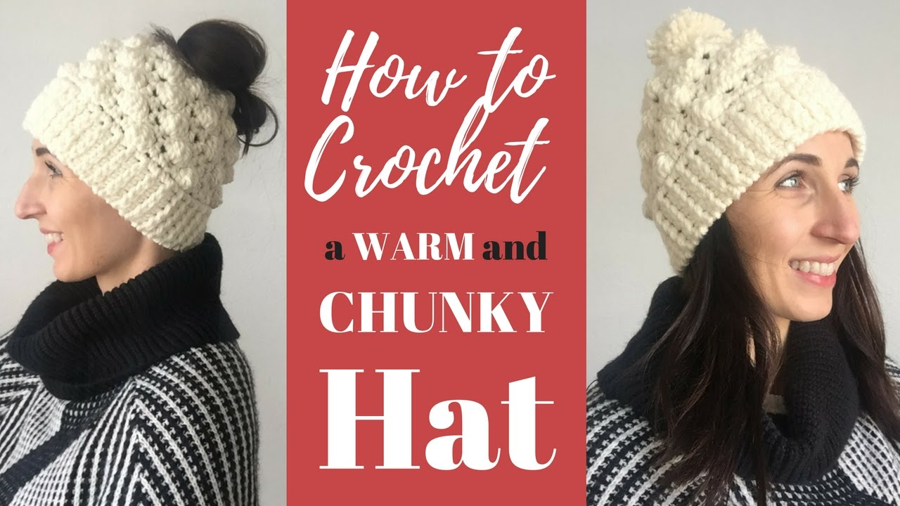 How to Crochet an Easy Textured Hat (or Messy Bun Hat!) - YouTube 46ea414034b