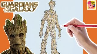 How To Draw And Color In Groot 🌍 Guardians Of The Galaxy 🌍 Drawing For Kids 🎨 Crafty Kids