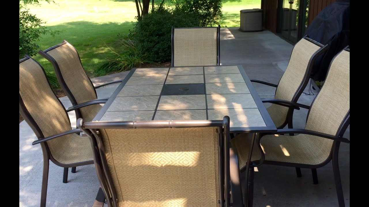 Mainstays Wesley Creek 7 piece tan outdoor patio dining set review