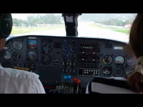 Landing in St. Barth with BRITTEN NORMAN - BN2 Islander airplane