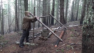 Bushcraft - Rainstorm and Building the Lean-to