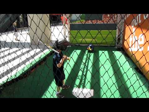 Tim hits in the cage at Camden Yards