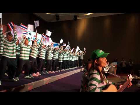 Thai Tims sing 'Just Can't Get Enough' at a football media event in Bangkok.