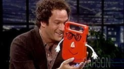 """Albert Brooks and his electronic friend """"Buddy"""" on The Tonight Show Starring Johnny Carson"""