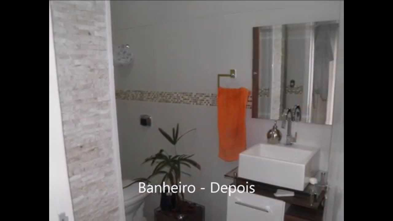 Reforma de banheiro  suíte casal  Antes e depois  com pastilhas e pedras  -> Reforma Banheiro Pequeno Antes E Depois