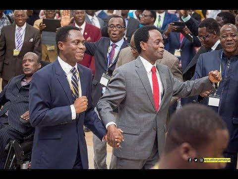 Aps. OPOKU ONYINAH DANCES WITH IN-COMING PENTECOST CHAIRMAN Aps. ERIC NYAMEKYE