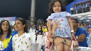 "Entire Stadium Chants ""Dhoni Dhoni"".. Including Zeeva Dhoni also chanting ""Papa common  papa"".."