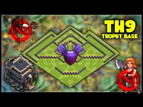 *NEW* EPIC TH9 [Town Hall 9] Trophy Base! w/ Replays! Anti Valkyrie, Anti Lavaloon - Clash Of Clans